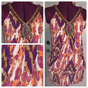 NEW Maurices Beaded Multicolor Sequin Top
